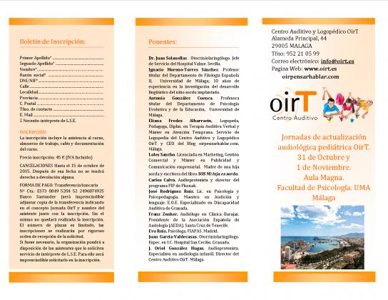 Jornadas de actualización audiológica pediátrica OirT, Málaga
